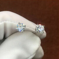 14K White Gold Finish 2.00Ct Round-Cut Diamond VVS1/D Solitaire Stud Earrings