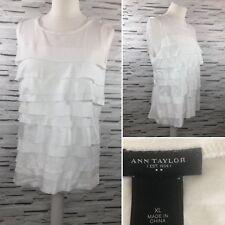 Ann Taylor LOFT Women's Blouse White Layered Ruffle Top Size XL Smart Work