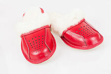 Women Sheepskin 100% Leather Slippers Wool Shoes Size 3 4 5 6 7 8 Flip-Flop Red