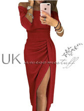 UK Womens Ladies Off Shoulder Party Long Evening Pencil Split Midi Dress 6 - 16