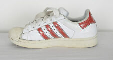 Adidas Superstars Shell toe Trainers UK 6 White Red (EDG) 2005
