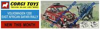 Corgi Toys 256 Volkswagen 1200 African Rally Car Poster Sign Advert Streamer