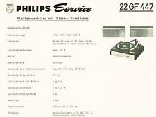 Philips Plattenspieler 22GF447  Schaltplan Manual 1969 Original   gf 447