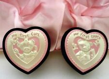 "BABY GIRL  KEEPSAKE ""FIRST CURL & FIRST TOOTH"" SET IN PINK SATIN LINED GIFT BOX"