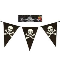 12FT Pirate 11 Flag Banner Bunting Kids Party Skull & Crossbones Childrens Adult