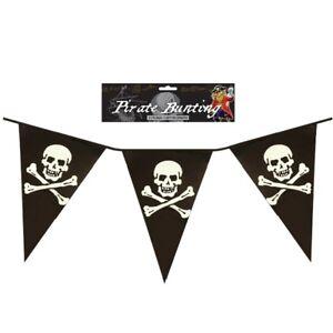 12FT Pirate 11 Flag Banner Bunting Kids Party Skull & Crossbones Childrens Adult