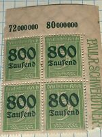 Germany Reich Mi 301 Sc 261 1923 Inflation 800 Over 5 Margin Block Of 4 MNH
