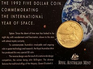 """1992 Uncirculated Australian $5 Coin - """"The International Year of Space"""""""