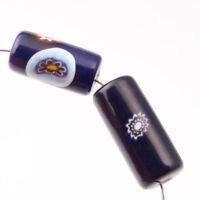 Lot (2) vintage Czech millefiori blue cylinder lampwork glass beads