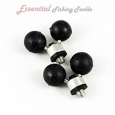 2 X RUBBER BALL STAINLESS STEEL ROD BUTT RESTS - FOR BANK STICKS & PODS