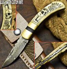 Louis Martin Hand Made Damascus Steel Camel Bone Hunting Folding Knife Back Lock