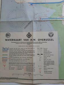 Rare vtg 1949 WATERKAART NW OVERIJSSEL - Gift for framing - DUTCH WATERWAYS MAP