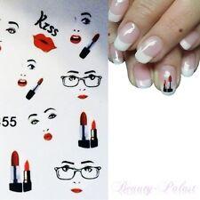 Nagel Sticker Nailart Tattoo Nagelaufkleber Mund Kiss Naillsticker XF1355