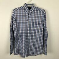 Faconnable Club Deauville Shirt Size M Blue Gray Red Plaid Long Sleeve Cotton