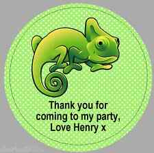 24 x 40mm Personalised Stickers Round Reptile Green Labels Party Thank You Seals