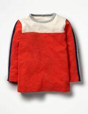 New Mini Boden Boys Sporty Colourblock T Shirt SIZE 11 12 Ecru Red