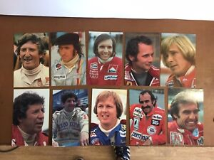Set Of 10 Cards Of 1970s Grand Prix Drivers In Original Wallet