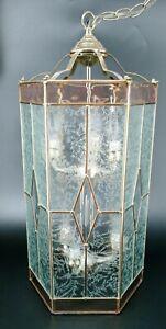 VINTAGE LIGHT CHANDELIER PURPLE BRASS BEVELED GLASS FOYER HANGING 6 CANDELABRA