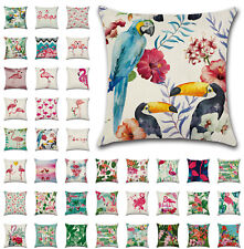 """UK 18"""" Green Leaves Flamingoes Cushion Cover Parrot Throw Pillow Case Home Decor"""
