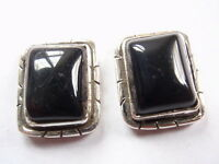 Black Onyx 925 Sterling Silver Stud Earrings with Grooved Accents