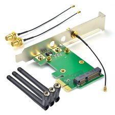 New Mini PCI-E Express to PCIE Wireless Adapter 3 Antenna WiFi PC Desktop