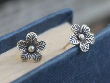 Handmade silver flower earrings Bohemian Gypsy Hippie Jewellery gift for her