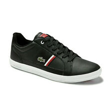 Mens Lacoste Shoes Europa 0120 1 Black Leather Casual Sneakers NEW