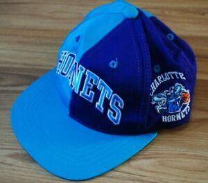 VINTAGE 1990'S CHARLOTTE HORNETS SNAPBACK STARTER HAT CAP NBA PURPLE ONE SIZE
