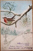 Hand-Painted, Original Art 1904 Postcard: Winter/Bird Watercolor, Artist-Signed