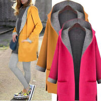 Winter Women Wool Hooded Long Coat Cardigan Trench Jacket Overcoat Outwear Plus