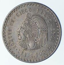 SILVER - HUGE - 1947 Mexico 5 Pesos - World Silver Coin *044