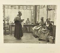 Gravure ancienne à l'eau forte XIXe- WALTER GAY «UN ASILE» salon 1888 rare