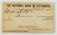 Postcard National Bank of Kittanning Pennsylvania Credit Loan 1891