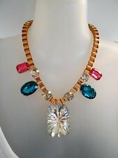 Pink, Blue and Clear Crystal Statement Necklace