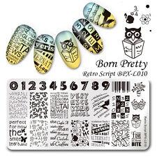 BORN PRETTY Nail Art Stamping Plate Retro Script Image DIY BPX-L010