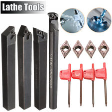 4x 10mm Shank Lathe Boring Bar Turning Tool Holder Set DCMT0702 Carbide Inserts