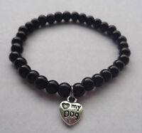 Black / White Elastic Glass Pearl Bead Bracelet Love Heart Dog Paw Charm - NEW