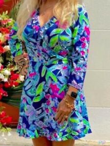 NWT LILLY PULITZER S,M,L JESSALYNNE WRAP ROMPER BRIGHT NAVY SWAY THIS WAY