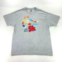 Walt Disney World Men's 2015 5K Goofy T-Shirt Heather Gray • Large