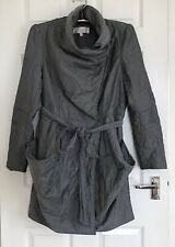Gharani Strok Metallic Grey Lightweight Lagan Look Belted Coat  - Size L - 14