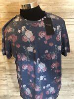 Men's NWT Jack&Jones Floral Tropical Hawaiian Crewneck T-Shirt 2XL Slim Fit N40