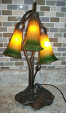 Gorgeous Triple Cala Lily Tulip Lamp w/Bronzed Lily Pad Base & Sweeping Stems