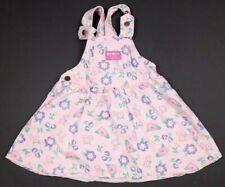 Vtg Oshkosh B'Gosh Pink Floral Bubble Denim Jumper Dress Toddler Size 4 USA
