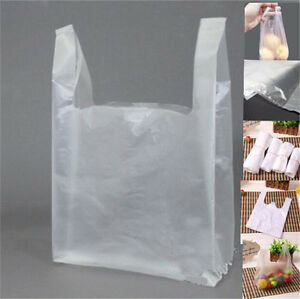 100pcs/lot Transparent Shopping Bag With Handle Plastic Food Packaging Bags