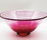 "DKL Studio Signed Hand Blown Pink Swirl David Leppla Art Glass Bowl 7""W 3.5""H"