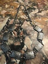 Vintage Silver Metal Concho Style Belt Stamped Et-3697A