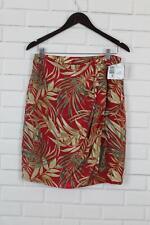 Liz Claiborne Womens Silk Faux Wrap Skirt Sz 12 Red Jungle Print New