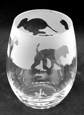 More details for bedlington terrier frieze boxed 36cl crystal stemless wine / water glass