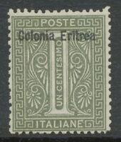 "ITALIAN ERITREA 1893 1 C. gray-oliv w overprint ""Colonia Eritrea"" UNUSED NO GUM"