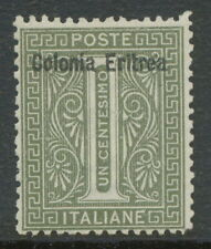 "ITALIAN ERITREA 1893 1 C. gray-oliv w overprint ""Colonia Eritrea"" UNUSED NO GUM"